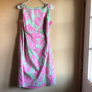 Jones New York Green & Pink Sheath Dress